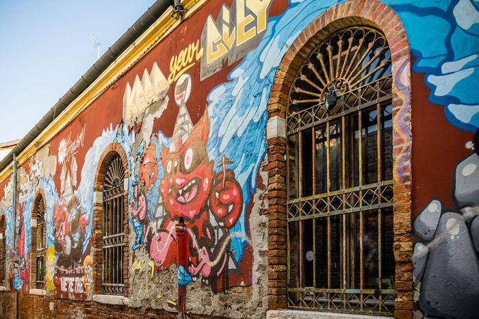 Architecture Art ArtWork Colorful Devil Fresco Graffiti Outdoors Street Venice, Italy Wall