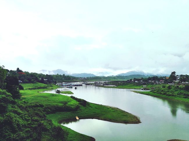 Kanchanaburi Kanchanaburi Thailand Sungkhaburi Bridge Nature Photography Naturelovers Nature Landscape Rural Scene Water Agriculture Nature Beauty In Nature Outdoors Lake Hill Day Scenics No People Tree Rice Paddy Sky