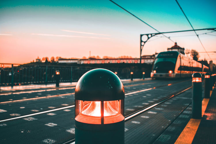 🌀 Porto City Locomotive Subway Train Freight Transportation Railroad Track Train - Vehicle Steam Train Cargo Container Sunset Sky Subway Platform Metro Train Public Transportation Subway