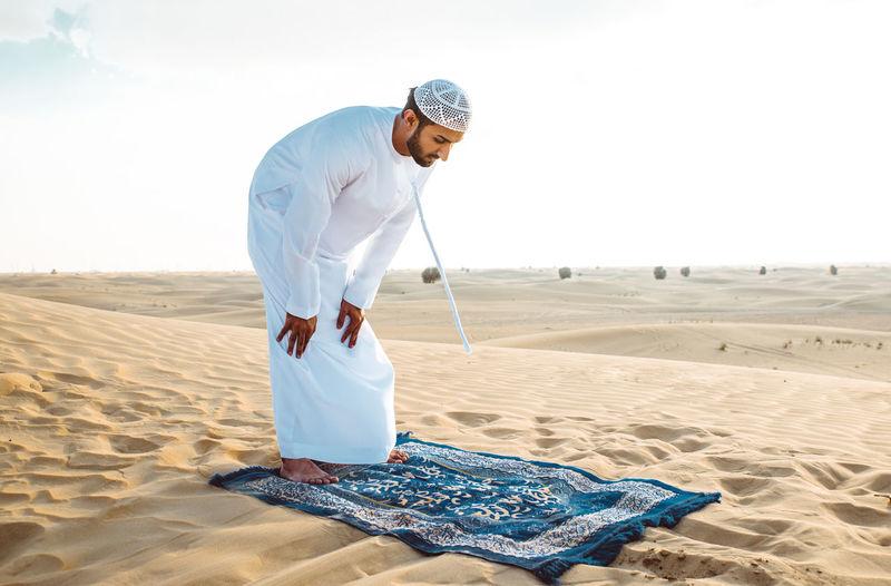 Man working in desert