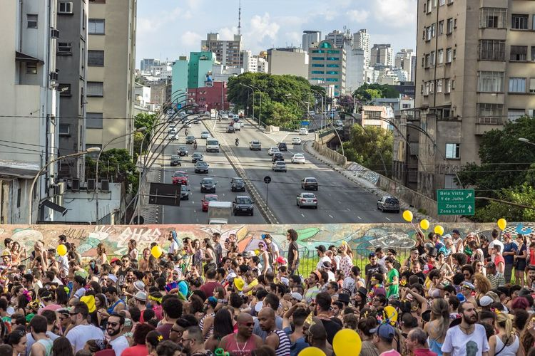 High angle view of crowds on street during Brazilian Carnival
