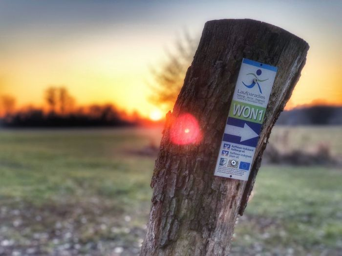 Close-up of sign on wooden post at sunset