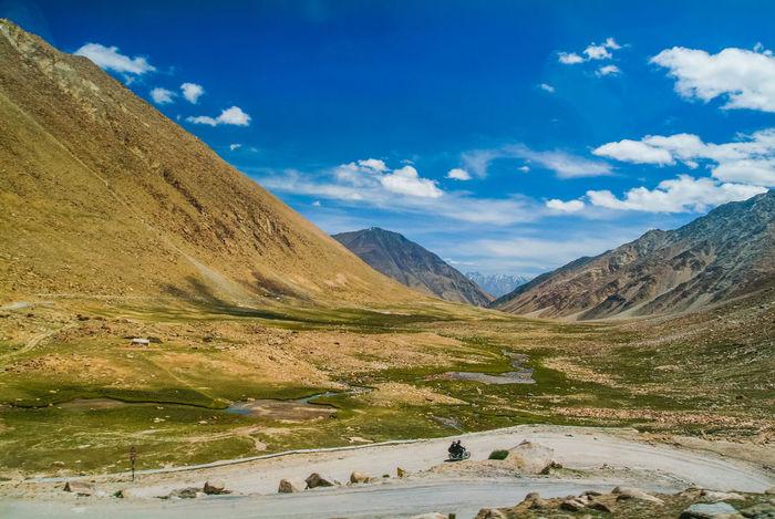 Landscap on the way to Pangong Lake Blue Cloud India Jammu And Kashmir Ladakh Landscape Leh Mountain Mountain Range Nature Outdoors Road Sky Travel