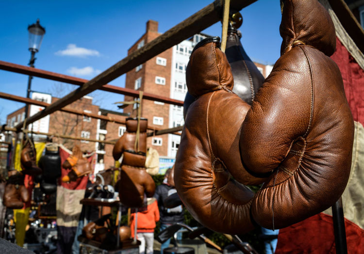 Boxing Gloves Hanging At Market Stall