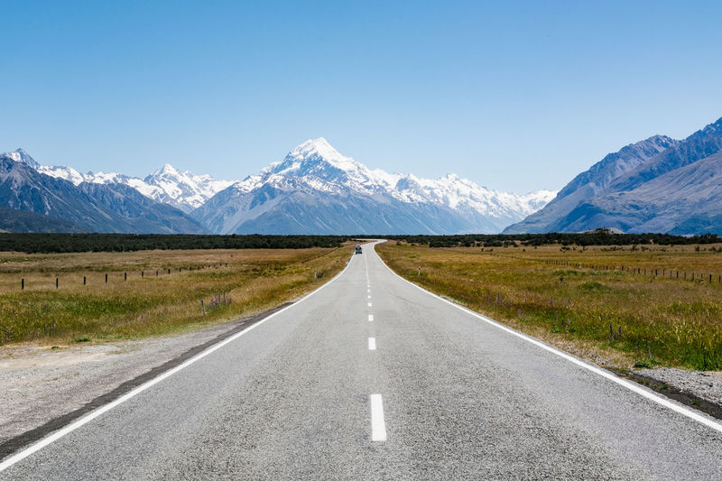 Road Mountain Transportation Direction The Way Forward Scenics - Nature Diminishing Perspective Sign Sky Tranquil Scene Beauty In Nature Mountain Range Environment Snow Landscape Tranquility Nature Winter Symbol No People Snowcapped Mountain Dividing Line