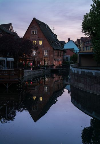 Row row. Architecture Reflection Building Exterior Built Structure Water Sky Waterfront Outdoors River Lovely Place Alsace Colmar Colmar, Alsace, France Architecture_collection Dusk In The City Dusk Vive La France France Travel Destinations Architecturelovers Water Reflections Reflection Traveling Travel Travel Photography