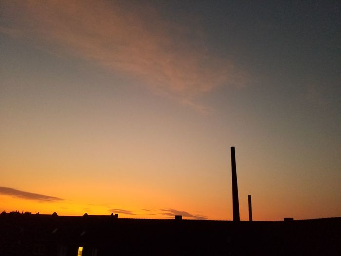 Silhouette Sunset Dramatic Sky No People Orange Color Sky Industry Skyline Chimney Early Morning Sunlight