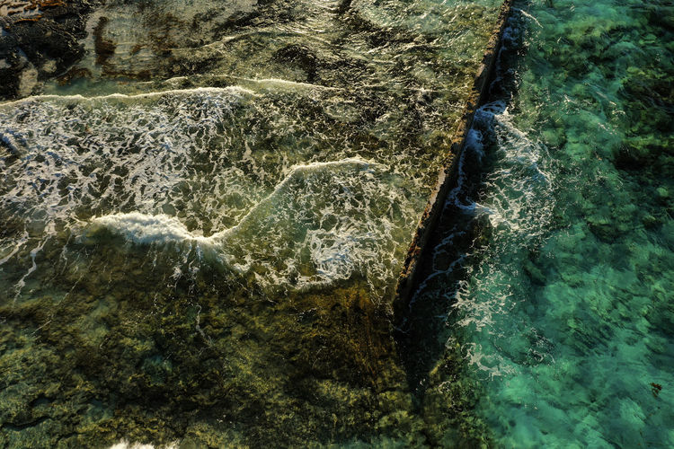 Old Wall Dji Mavic 2 Pro Water Nature Solid Motion No People Day Rock Formation Sea Beauty In Nature Land Scenics - Nature Outdoors Flowing Water High Angle View Flowing Power In Nature Purity Bimini Concrete Wall