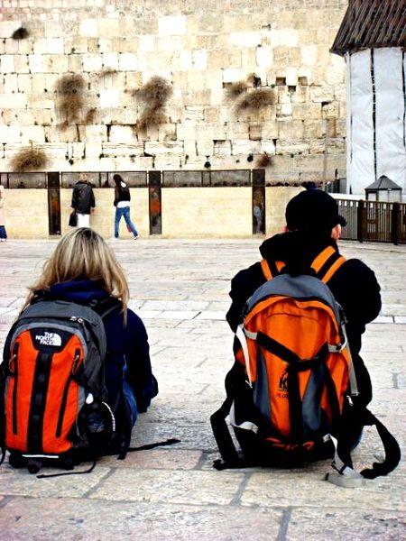 Jerusalem Wailingwall Friends Backpack Pensive Spirituality Birthright Israel Traveling LifeChanging