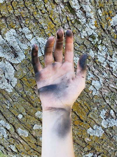 Close-up of cropped dirty hand against tree trunk with lichens