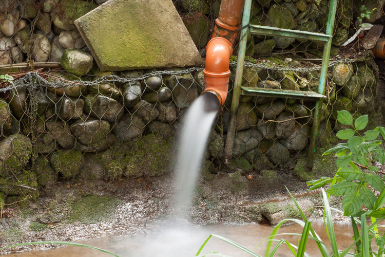 Water spraying from pipe