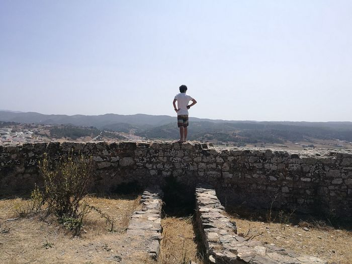Rear view of man standing on stone wall against clear sky