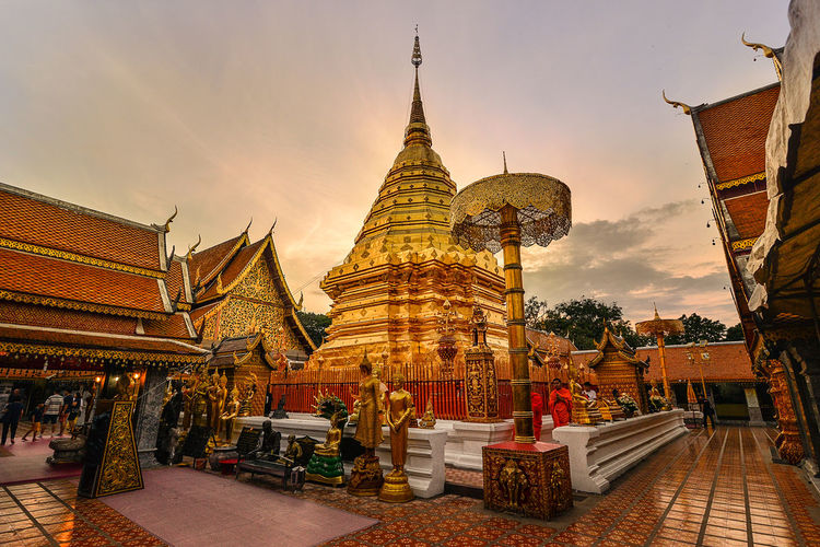 Wat Phrathat Doi Suthep Thailand Architecture Belief Building Building Exterior Built Structure Gold Colored History Nature Outdoors Place Of Worship Religion Spire  Spirituality Temple Thailand_allshots The Past Travel Destinations