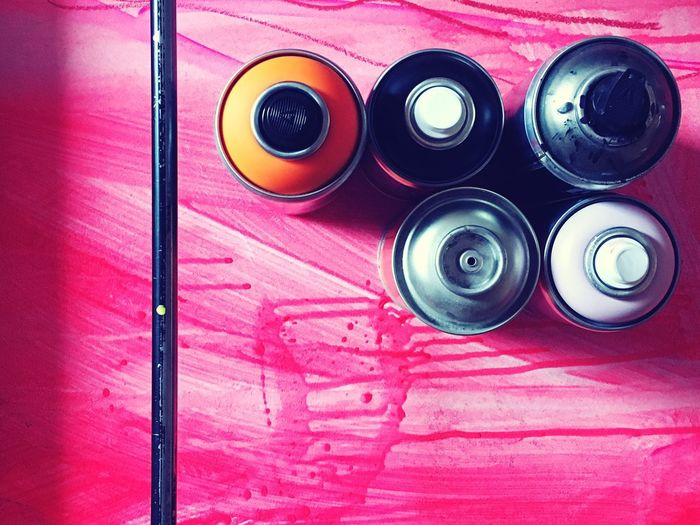 Creativity Art Equipment Art Paint Graffiti Pink Color Still Life High Angle View Vibrant Color Spray Paint