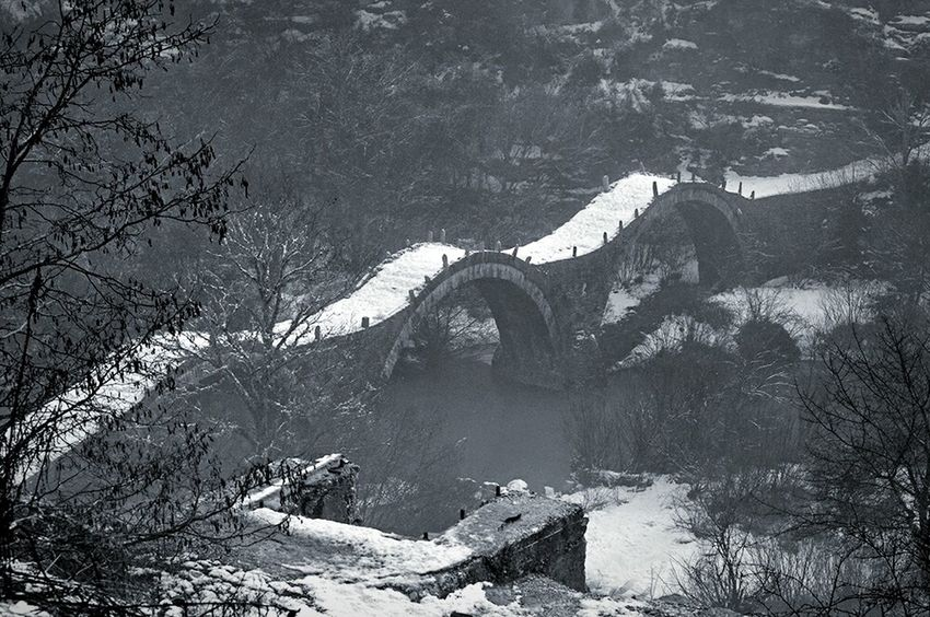 Showcase: January Wintertime Winter Blackandwhite Blackandwhite Photography Bridge Bridges From My Point Of View From Where I Stand Fromwhereistand Old Bridge Riverside Old Path - Zagoroxoria,greece Greece Landscapes With WhiteWall