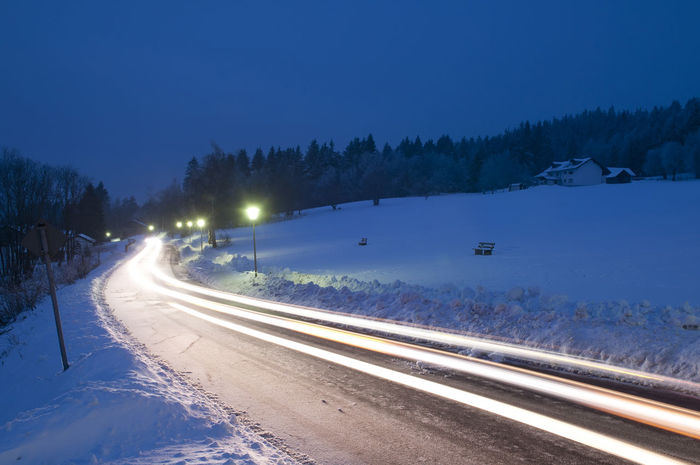 snowy road Asphalt Dark Darkness Frost Ice Lantern Light Road Tempo Traffic Weather Winter Car Light Cold Dusk Evening Lane Lightbeams Movement Roadway Smooth Snow Speed Spotlight Tracers Capture Tomorrow