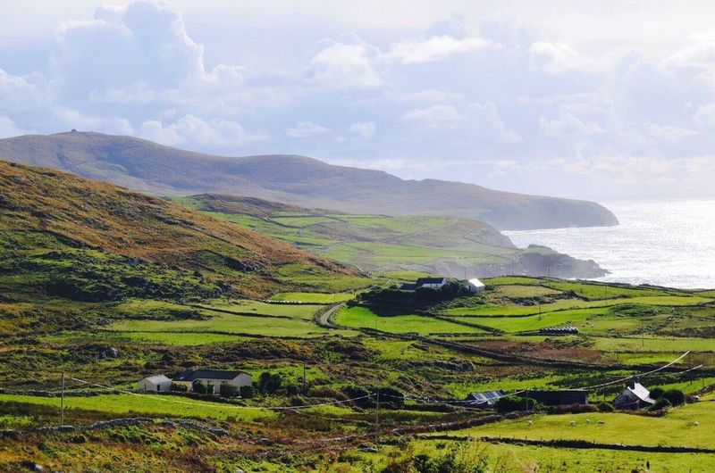 Ireland Kerry Scenics Tranquil Scene Landscape No People Nature Green Grass Sea Sky Tranquility Outdoors