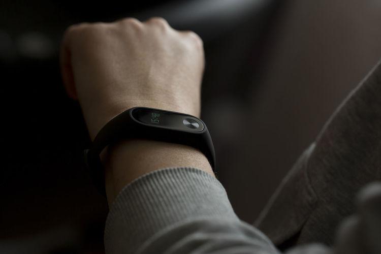 Close-up of modern wristwatch