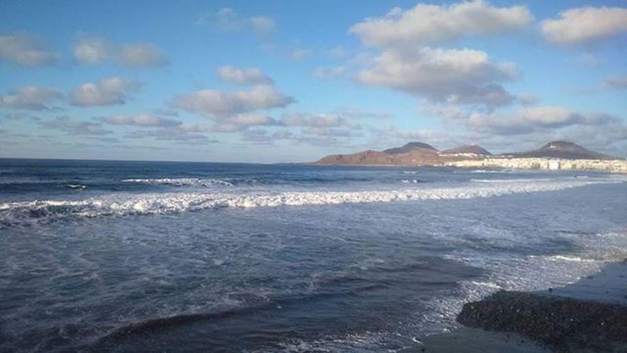 Good Morning!! Lascanteras GranCanaria Islascanarias Canaryislands Beach Holidays Vacations Ocean Island Bluesky Cloudslovers