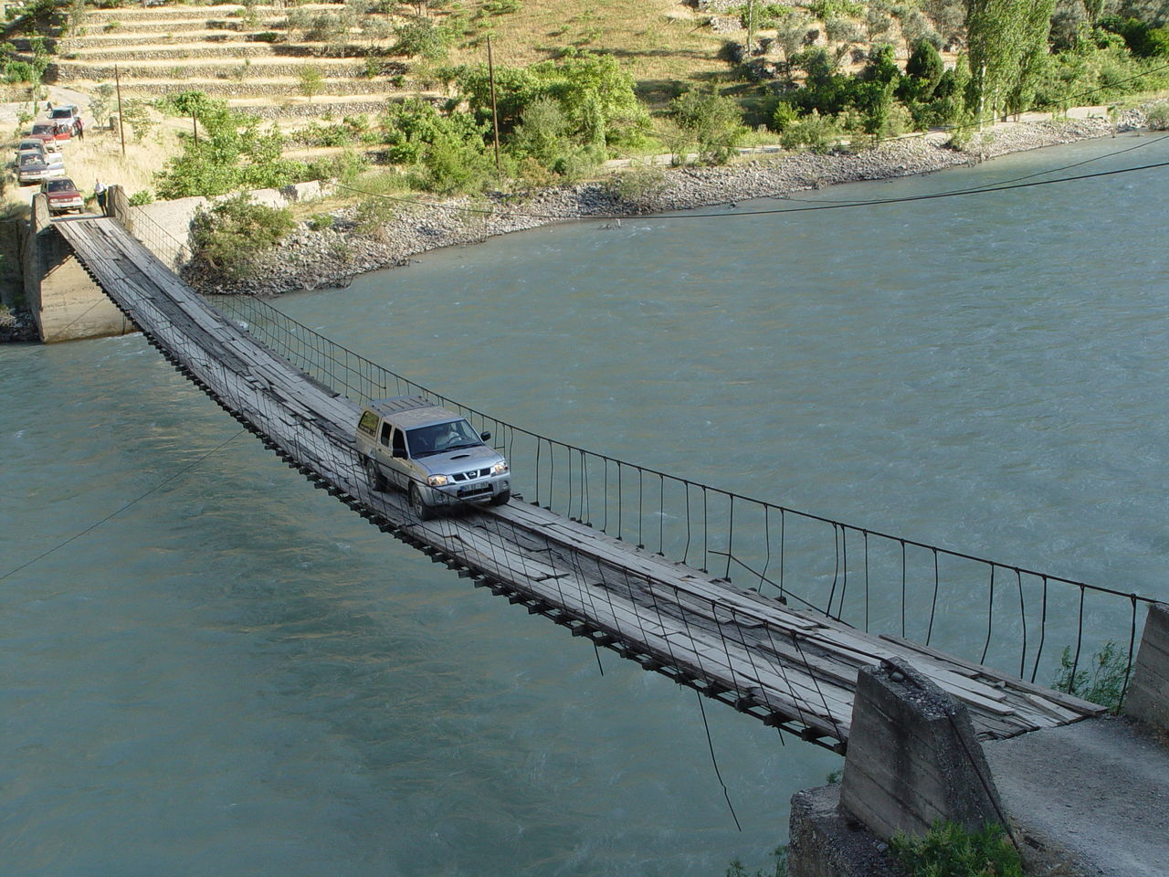 HIGH ANGLE VIEW OF RIVER BY BRIDGE