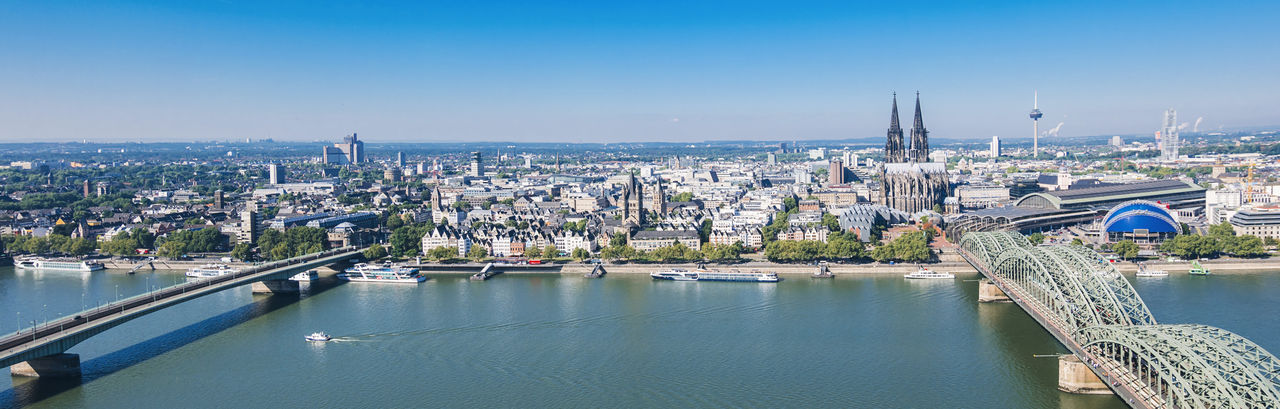 Skyline panoram of Cologne city in germany Cityscape Cologne Cologne , Köln,  Holidays Old Town Panorama Rhine Skyline Aerial View Architecture Bridge - Man Made Structure Built Structure City Cityscape Cologne Cathedral High Angle View No People Outdoors River Sky Skyscraper Summer Travel Destinations Urban Skyline Water