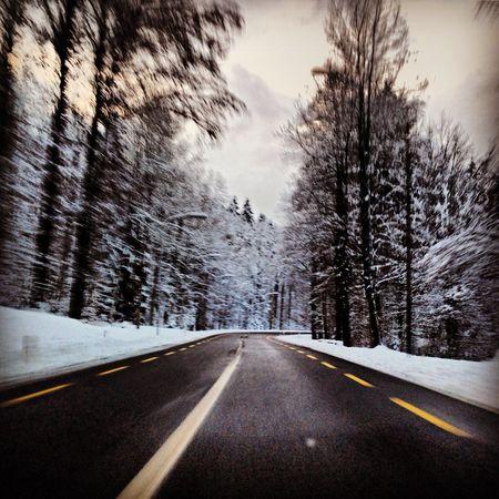 Swiss roads in winter