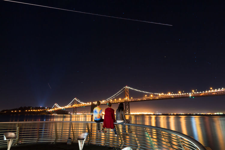 Rear view of people sitting on railing against illuminated bay bridge at night