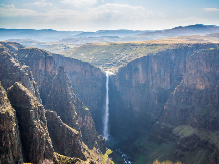 Maletsunyane Waterfall in mountain kingdom Lesotho Lesotho Africa Beauty In Nature Day Falls Landscape Maletsunyane Mountain Mountain Range Nature No People Outdoors Physical Geography Scenics Semonkong Sky Tranquil Scene Tranquility Water Waterfall
