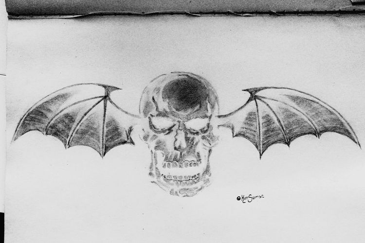 Deathbat drawing Avenged Sevenfold Deathbat Band Metal Drawing Skull Black And White A7x My Drawing Pencil Art Imperfection Sketch Sketchbook Passion Check This Out Alternative