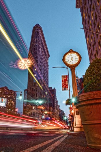 Light Trail Blurred Motion Long Exposure Architecture Speed Illuminated Motion Street Night Transportation City Building Exterior Built Structure Outdoors Street Light Road Travel Destinations Clear Sky Clock No People Flatiron Building Flatironbuilding Streetphotography Street Photography NYC Street