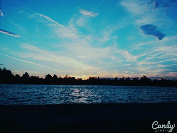 Sunset Lake Sunset Relaxing Beautiful Day