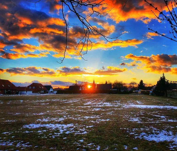 Sunset Nature Beauty In Nature Sky Scenics Cloud - Sky Tranquility Orange Color Winter Tranquil Scene No People Outdoors Cold Temperature Snow Landscape Multi Colored Water Bird Day Tree