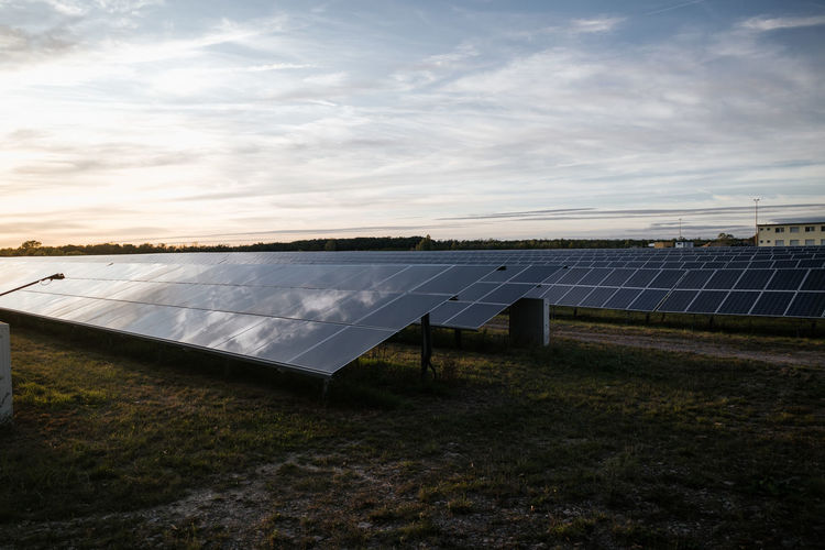 Solar panels on a field in germany