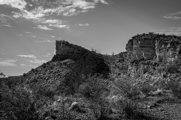 Low angle view of fort on mountain against sky