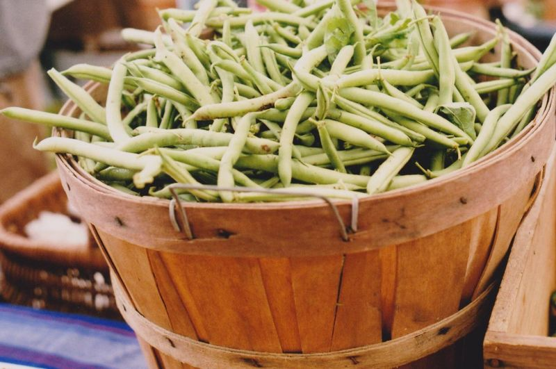 Green Beans In Bucket For Sale At Market Stall