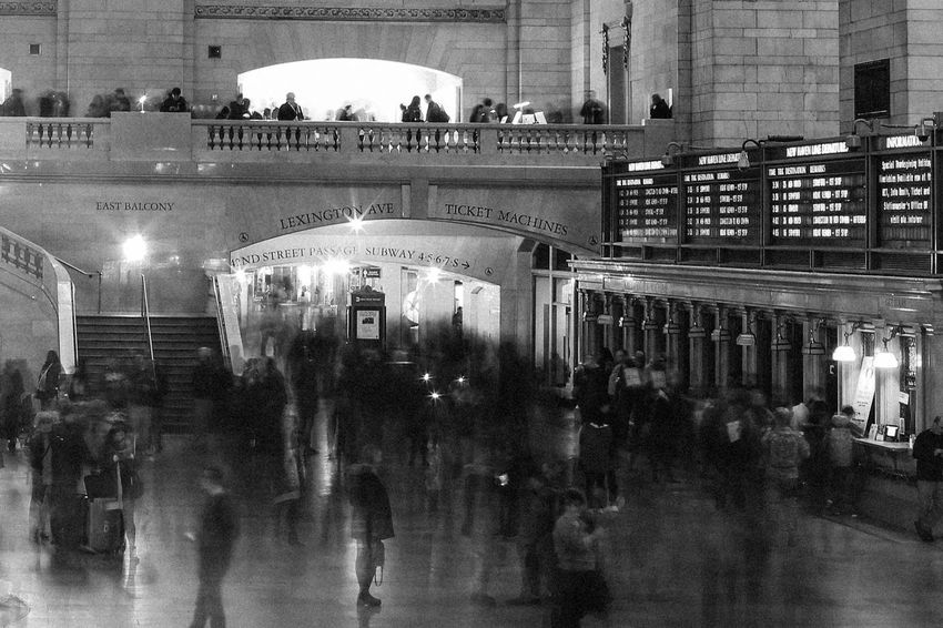 A Twist on Seurat Blur Blurred Motion City Crowd Grand Central Station Indoors  Large Group Of People Long Exposure People Travel Waiting Game