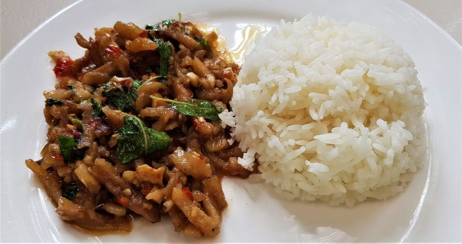 Asian Food Cereal Plant Chicken With Thai Basil Close-up Crockery Dinner Food Food And Drink Freshness Healthy Eating High Angle View Indoors  Mash - Food State Meal Meat No People Plate Ready-to-eat Rice Rice - Food Staple Serving Size Still Life Temptation Vegetable Wellbeing
