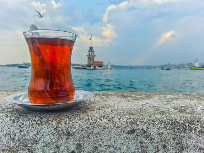 Beauty In Nature Close-up Cloud Cloud - Sky Day Focus On Foreground Horizon Over Water Idyllic Istanbul Kiz Kulesi Maidentower Nature No People Outdoors Scenics Sea Shore Sky Tea Tranquil Scene Tranquility çay