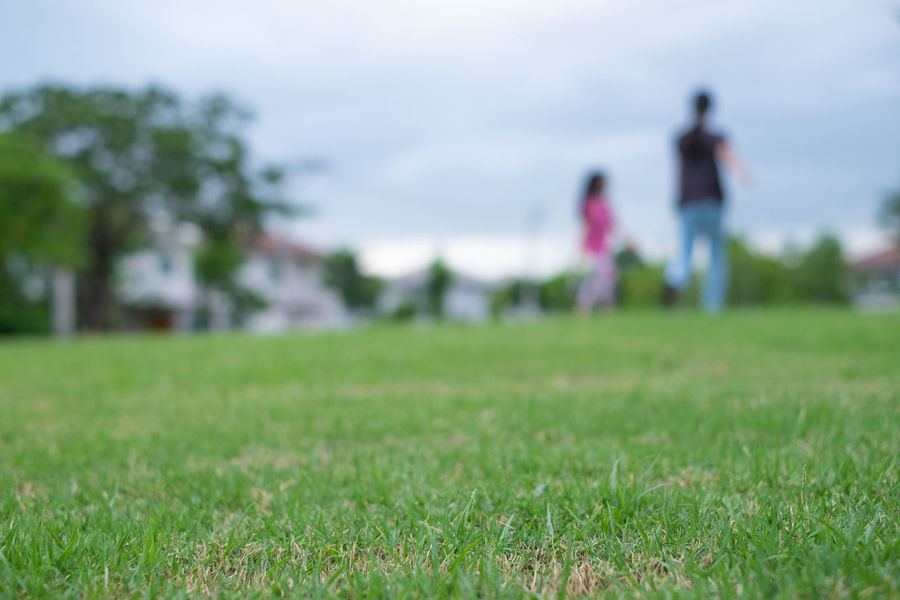 Grass Nature Field Two People Green Color Day Selective Focus Outdoors Focus On Foreground Environment Landscape Walking Standing Leisure Activity Blurred Background Childhood Playground Playtime Sky Land People