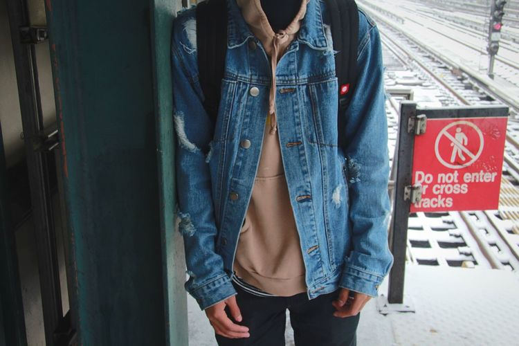 Distressed denim jean jacket from Forever 21 Midsection Casual Clothing Jeans Standing Lifestyles Real People Front View One Person Day Young Women Outdoors Young Adult Adult People Jean Jacket Denim Denim Jacket