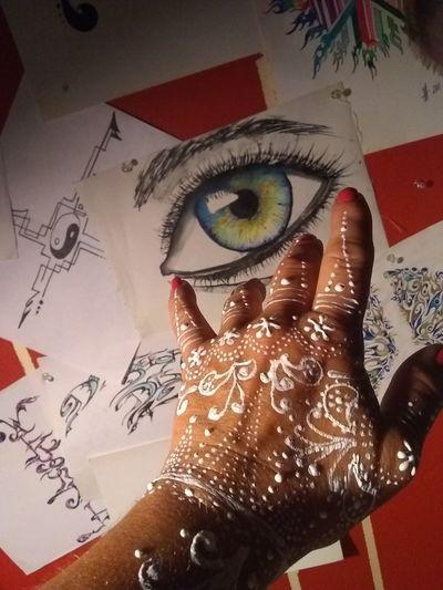 Artist Hand Close-up Eyeball Iris - Eye Sensory Perception Human Eye Green Eyes Eye