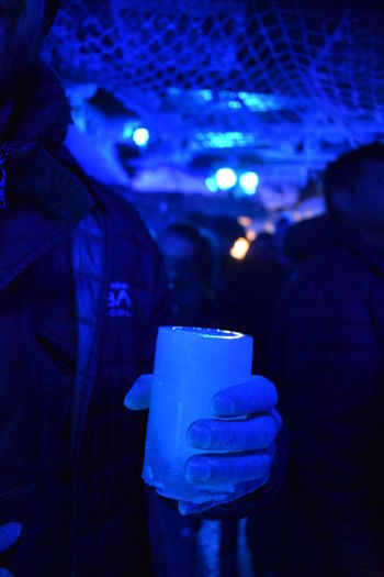 """""""Hold the ice beer """" Ice Glass Beer Cold Beer -10° Icebaramsterdam Drink Human Hand Men Illuminated Holding Winter Drinking"""