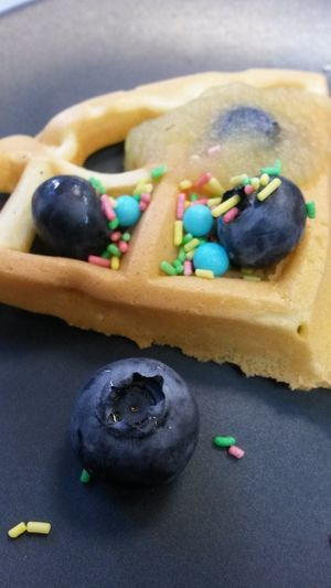 Blueberry Blueberries Waffle Waffle Time Waffles!! Sprinkles Birthday Birthday Cake Birthday Treat Treat Treats Sprinkle Streusel Yummy Food Foodporn Candy Fruit Fruits Delicious Waffel Wafer Gaufer Applesauce  Apple Puree
