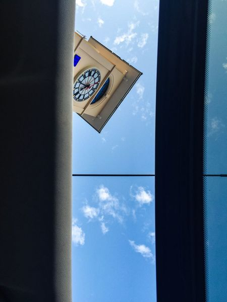 Window Sunroof Car Looking Up Blue Sky Antenna Open Roof Sky Day No People Low Angle View Outdoors Architecture