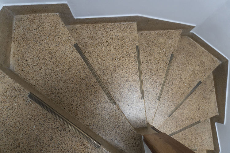 Architecture Staircase Indoors  High Angle View No People Steps And Staircases Built Structure Still Life Metal Pattern Close-up Directly Above Railing Wall - Building Feature Geometric Shape Day Design Concrete Shape Flooring