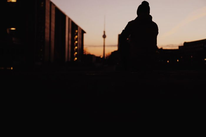 Silhouette Real People Sunset Built Structure One Person Men Outdoors Spirituality Lifestyles Sky The Week On EyeEm Real Photography Colors Berlin Berlin Photography Sunrise City City Life Enjoying The Sun Enjoying The View Enjoying Life Silhouette