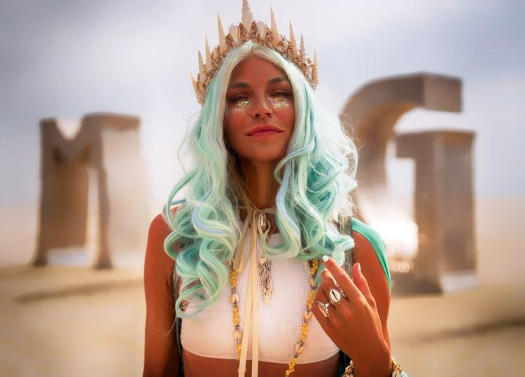 Burning Man 2016 Art Artistic Beautiful Beauty Bokeh Bokeh Photography Bokehlicious Burning Man Colors Crown Desert Godess Green Hair Invitation Sand Sexygirl Sky Smile