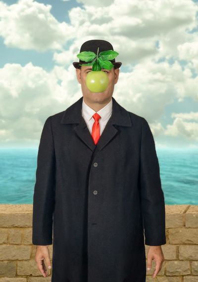The first man (inspired by Renee Magritte) Art Red Tie Green Apple Apple Hat Renee Magritte Sea Cloud - Sky Sky One Person Standing Real People Outdoors Go Higher End Plastic Pollution