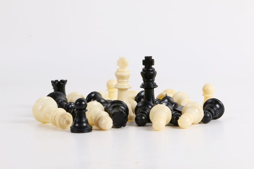 black and white chess figures in the studio Black Black And White Blackandwhite Chess Chess Board Chess Piece Chesspieces Close-up Figures Game Indoors  King - Chess Piece Knight - Chess Piece Lying Down No People Pawn - Chess Piece Queen - Chess Piece Still Life Strategy Studio Shot Token Toy White White Background
