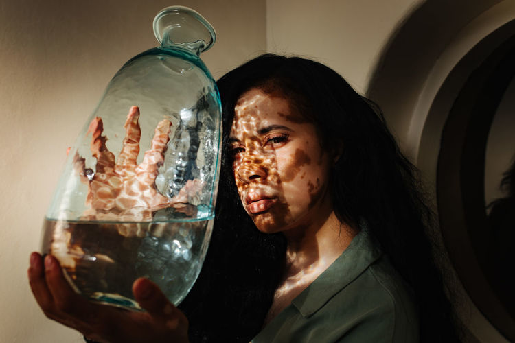 Portrait Indoors  Headshot Glass Transparent One Person Glass - Material Holding Real People Adult Water One Animal Vitiligo